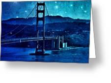 Golden Gate Bridge Night Greeting Card