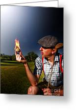 Golf Ball Flames Greeting Card