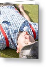 Golf Player Finding Inner Balance Greeting Card