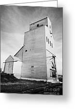 grain elevator and old train track landmark leader Saskatchewan Canada Greeting Card