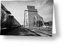 grain elevator and old train track with grain railcars leader Saskatchewan Canada Greeting Card