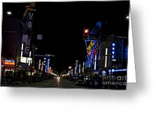 Granville Street At Night Vancouver Greeting Card