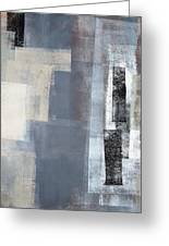 Blocked - Grey And Beige Abstract Art Painting Greeting Card