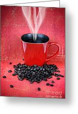 Grungy Red Cup Of Coffee Greeting Card