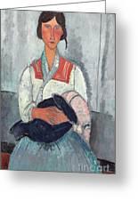 Gypsy Woman With Baby Greeting Card by Amedeo Modigliani