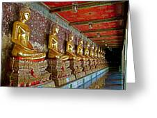 Hall Of Buddhas At Wat Suthat In Bangkok-thailand Greeting Card