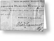 Hamilton: Appointment, 1777 Greeting Card