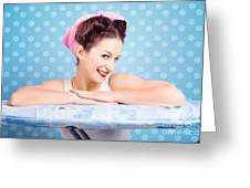 Happy 60s Pinup Housewife On Blue Ironing Board Greeting Card
