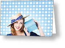 Happy Birthday Girl Holding Present Greeting Card