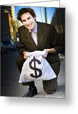 Happy Business Man Smiling With Money Bag Greeting Card