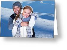 Happy Couple Playing Outdoor At Winter Mountains Greeting Card