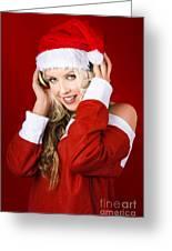 Happy Dj Christmas Girl Listening To Xmas Music Greeting Card