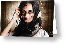 Hard Rock Zombie Listening To Death Metal Music Greeting Card