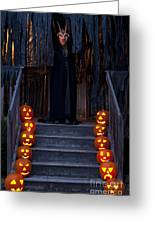 Haunted House With Lit Pumpkins And Demon Greeting Card