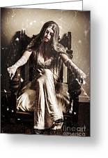 Haunting Horror Scene With A Strange Vampire Girl  Greeting Card