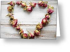 Heart From Dry Rose Buds Greeting Card