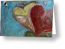 Heart Shape Painted On A Wall, Safed Greeting Card