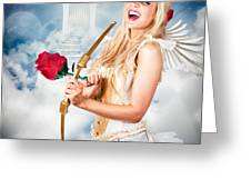 Heavenly Angel Of Love With Flower Arrow Greeting Card