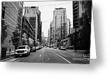 high rise apartment condo blocks in the west end west pender street Vancouver BC Canada Greeting Card