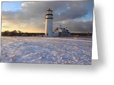 Highland Lighthouse Winter Sunset Greeting Card