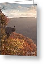 Hiker On Hawksbill Crag In Arkansas Greeting Card