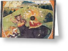 Hindu Goddess Durga Fights Mahishasur Greeting Card