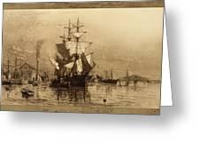 Historic Seaport Schooner Greeting Card