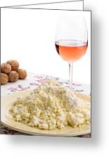 Homemade Cheese Wine And Walnuts Greeting Card