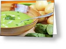 Homemade Potato And Spinach Soup Greeting Card