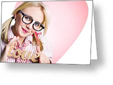 Hopeless Romantic Girl Showing Signs Of Love Greeting Card