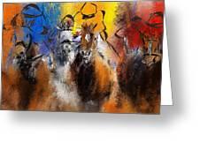 Horse Racing Abstract  Greeting Card