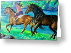 Horse Riding In Lake Greeting Card
