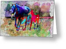 Horses Of Different Colors Greeting Card