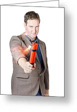 Hostile Male Office Worker Holding Flaming Bomb Greeting Card