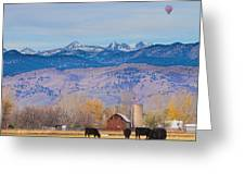 Hot Air Balloon Rocky Mountain County View Greeting Card