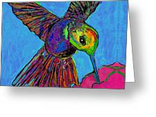 Hummingbird On Blue Greeting Card