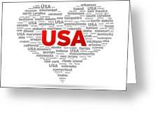 I Love Usa Greeting Card