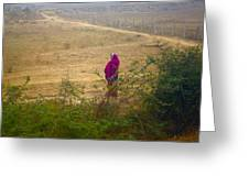 Indian Woman In Field Greeting Card