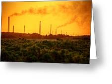 Industrial Chimney Stacks In Natural Landscape Polluting The Air Greeting Card
