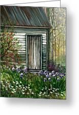 Iris By Barn Greeting Card