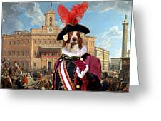 Irish Red And White Setter Art Canvas Print Greeting Card