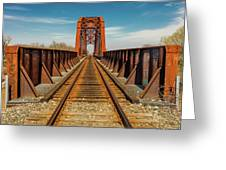 Iron Railroad Bridge Over Water, Texas Greeting Card