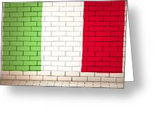 Italy Flag Brick Wall Background Greeting Card