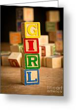 Its A Girl - Alphabet Blocks Greeting Card