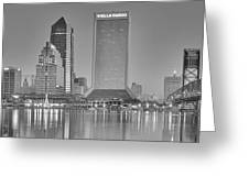 Jacksonville Florida Black And White Panoramic View Greeting Card