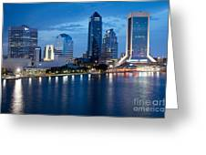 Jacksonville Skyline At Dusk Greeting Card