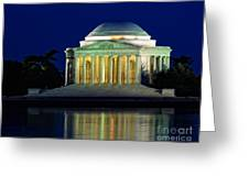 Jefferson Memorial At Night Greeting Card