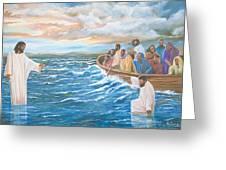 Jesus Walking On Water Greeting Card