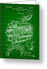 Jet Engine Patent 1941 - Green Greeting Card