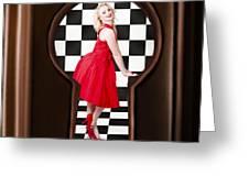 Keyhole Retro Fashion Portrait Of Stylish Girl Greeting Card